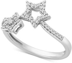 Diamond Star By-Pass Ring (1/6 ct. t.w.) in 14k White Gold, Created for Macy's