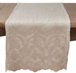 Stonewashed Table Runner with Embroidered Design