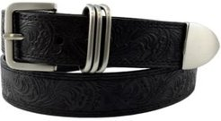 Accessories Flower Embossed Casual Leather Belt with 3pc Keeper
