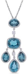 Blue Topaz (22 1/4 ct. t.w.) and Diamond (1 ct. t.w.) Geometric Drop Necklace in 18k White Gold