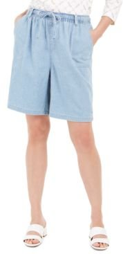 Petite Cotton Lisa Pull-On Denim Shorts, Created For Macy's