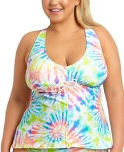 Trendy Plus Size Tie-Dye Printed Adjustable Cinch Front Tankini Top, Created For Macy's Women's Swimsuit