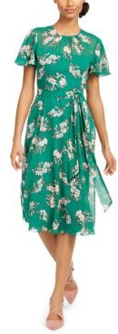 Floral-Chiffon A-Line Dress