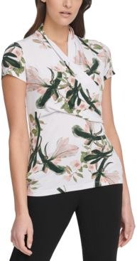 Floral-Print Ruched Top