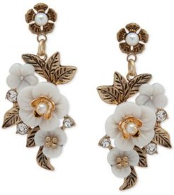 Gold-Tone Pave & Imitation Pearl Flower Drop Earrings