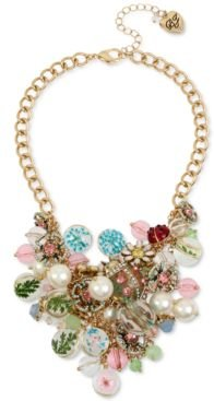 """Gold-Tone Crystal & Imitation Pearl Flower-Motif Mixed Charm Statement Necklace, 17"""" + 3"""" extender"""