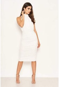 High Neck Ruched Bodycon Midi Dress
