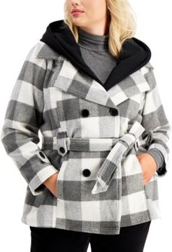 Juniors' Trendy Plus Size Double-Breasted Belted Coat