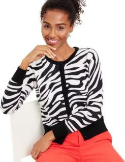 Animal-Print Cashmere Cardigan, Created for Macy's