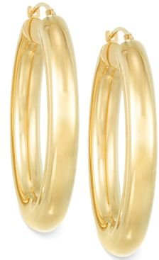 Signature Gold Polished Hoop Earrings in 14k Gold over Resin