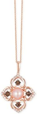 Chocolatier Pink Freshwater Pearl (8mm) and Diamond (3/4 ct. t.w.) Flower Pendant Necklace in 14k Rose Gold