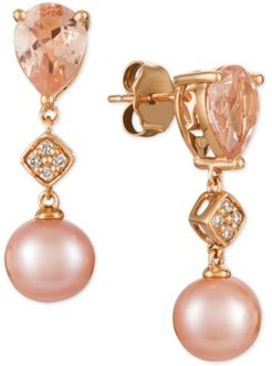Peach Morganite (1-1/2 ct. t.w.), Pink Cultured Freshwater Pearl (9mm), and Diamond Accent Drop Earrings in 14k Rose Gold