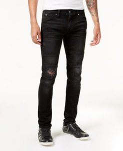 Slim-Fit Tapered Stretch Ripped Moto Jeans