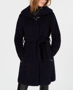 Signature Hooded Textured Belted Walker Coat