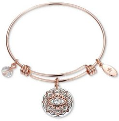 Two-Tone Crystal Evil Eye Bangle Bracelet in Rose Gold-Tone & Stainless Steel with Silver Plated Charms
