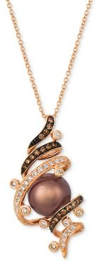 """Cultured Tahitian Brown Pearl (9mm) & Diamond (3/8 ct. t.w.) 20"""" Pendant Necklace in 14k Rose Gold"""