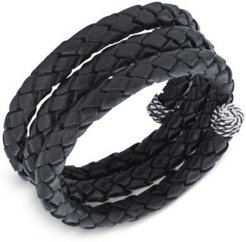 Braided Leather Coil Wrap Bracelet in Sterling Silver