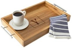 Personalized Acacia Tray with Metal Handles