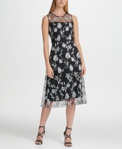 Floral Embroidered Mesh Midi A-Line Dress, Created for Macy's