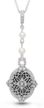 Georgie Diamond (1 ct. t.w.) and Pearl (4mm) Photo Locket Necklace in Sterling Silver