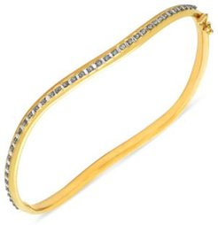 14k Gold Bracelet, Diamond Accent Wavy Bangle Bracelet