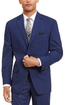 Classic-Fit Stretch Blue Houndstooth Windowpane Suit Separate Jacket