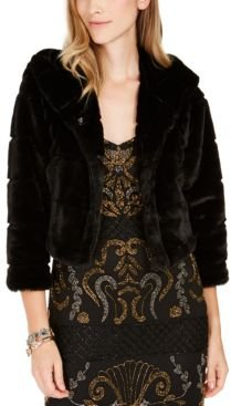 Faux-Fur Hooded Bolero Jacket