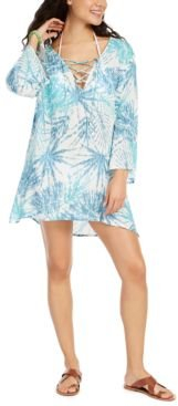 Printed Lace-Up Swim Cover-Up Tunic Women's Swimsuit
