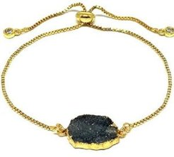 Gold Plated Pull Chain Bracelet with Druzy Electroform Stone