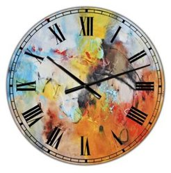 """Blue and Yellow Color Spatters Ii Large Modern Wall Clock - 36"""" x 28"""" x 1"""""""