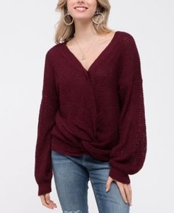 Twist-Front Knit Sweater