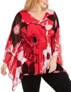 Plus Size Floral-Print Poncho Top, Created for Macy's