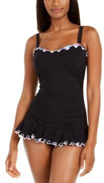 Tricolore Ruffled Underwire Swimdress, Created for Macy's Women's Swimsuit