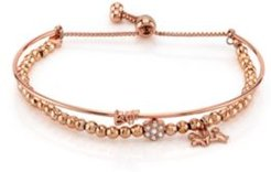 """Rose Gold Tone Fine Plated Silver """"Bff"""" Bird and Crystal Flower Charm Bead Bolo Bracelet"""