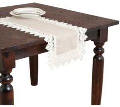 """Lace Trimmed Table Linens, 16"""" x 36"""""""