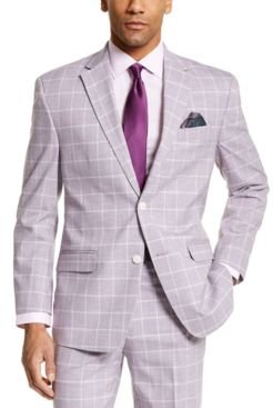 Classic-Fit Lavender Windowpane Suit Separate Jacket