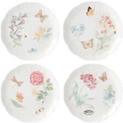 Butterfly Meadow Gold - 20th Anniversary Dinner Plates Set/4 Assorted