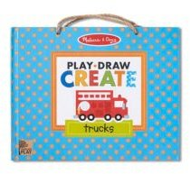 Melissa Doug Natural Play: Play, Draw, Create Reusable Drawing Magnet Kit - Trucks 45 Magnets, 5 Dry-Erase Markers