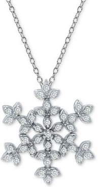 "Cubic Zirconia Snowflake 18"" Pendant Necklace in Sterling Silver"