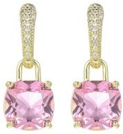 Gold-Tone Pink Topaz Accent Earrings