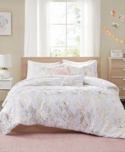 Magnolia Metallic Floral 4-Piece Twin/Twin Xl Comforter Set Bedding
