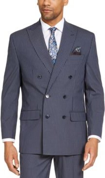Classic-Fit Blue Pinstripe Double Breasted Suit Separate Jacket