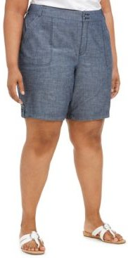 Plus Size Cotton Chambray Utility Shorts, Created for Macy's