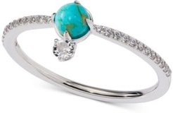 Silver-Tone Stone & Crystal Statement Ring