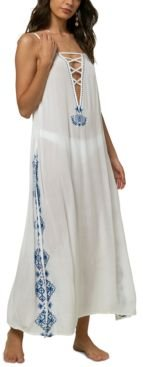 Juniors' Azul Embroidered Maxi Dress Cover-Up Women's Swimsuit