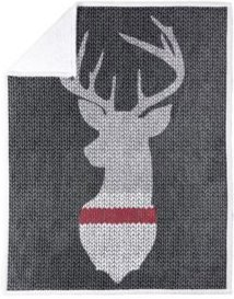 Safdie & Co. Inc Knit Printed Throws Sherpa Reversible Knitted Deer