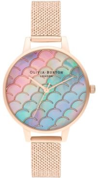 Under The Sea Rose Gold-Tone Stainless Steel Mesh Bracelet Watch 34mm