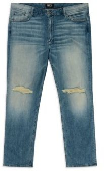 Big Tall Slit Knee Slim Straight Leg Jeans
