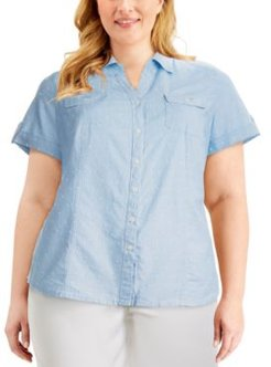 Plus Size Cotton Clip-Dot Button-Front Shirt, Created for Macy's