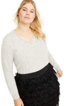 Plus Size Donegal V-Neck Sweater, Created for Macy's